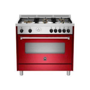 La Germania AMERICANA Burgundy Dual Gas/Electric Fuel Stove