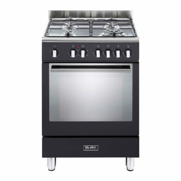 Elba 60cm Fusion 4 Gas Hobs With Electrictric Oven - Black