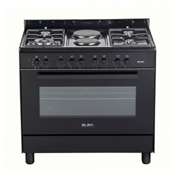 Elba 90cm 4 Gas Burners With 2 Electric Hobs & Thermofan Electric Oven -Black