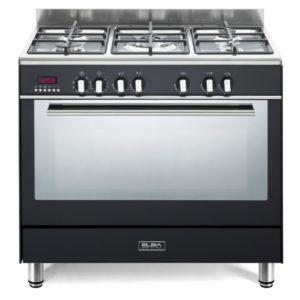 Elba 90cm Fusion 5 Gas Burners & Electric Oven - Black