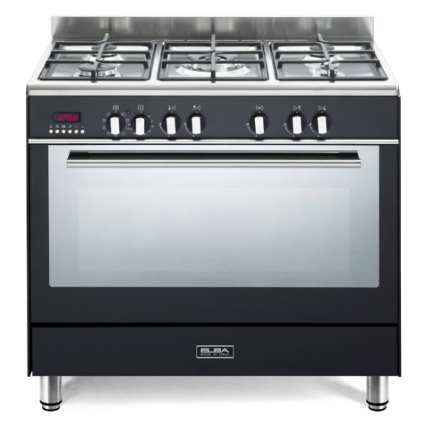 Elba 90cm Fusion 5 Gas Burners & Electric Oven - Black