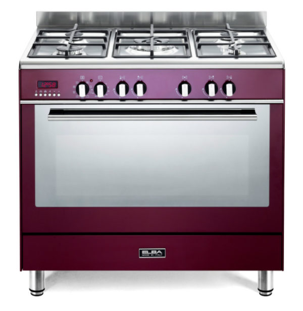 Elba 90cm Fusion 5 Gas Burners With Electric Oven - Red