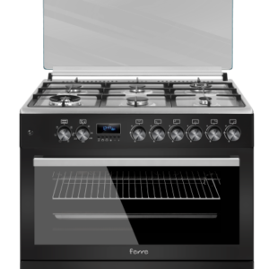 Ferre 6 Burner Gas Stove (1 Wok & 1 Mini Wok) With Electric Oven & Grill With Ffd 90 X 60 – Matt Black