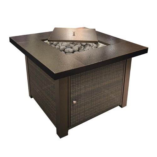 Alva Gas Fire Table - Wicker Finish (965x965x736mm)
